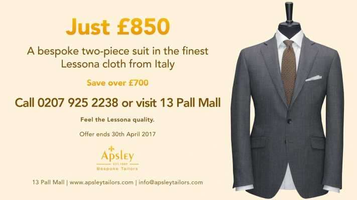 A bespoke two-piece suit in the finest Lessona cloth from Italy
