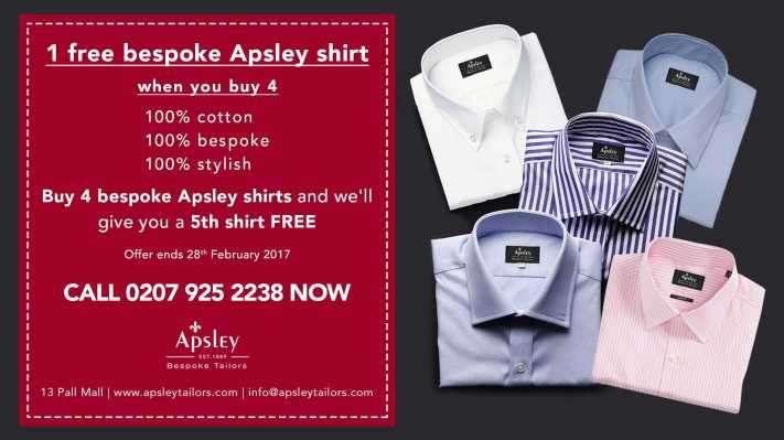 1 free bespoke Apsley shirt