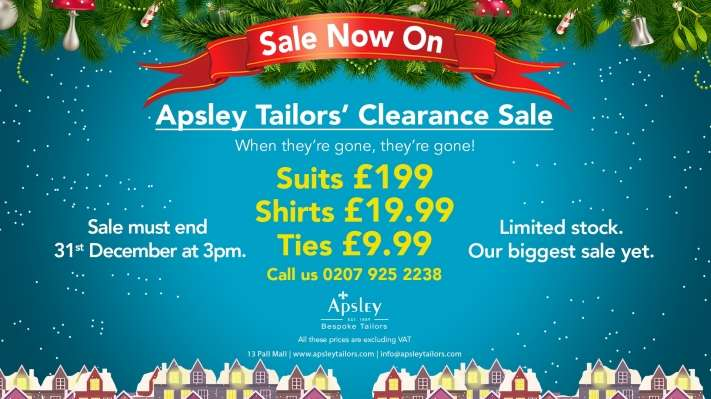Apsley Tailors' Clearance Sale