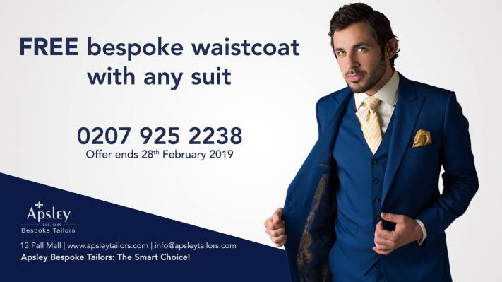 FREE bespoke waistcoat with any suit