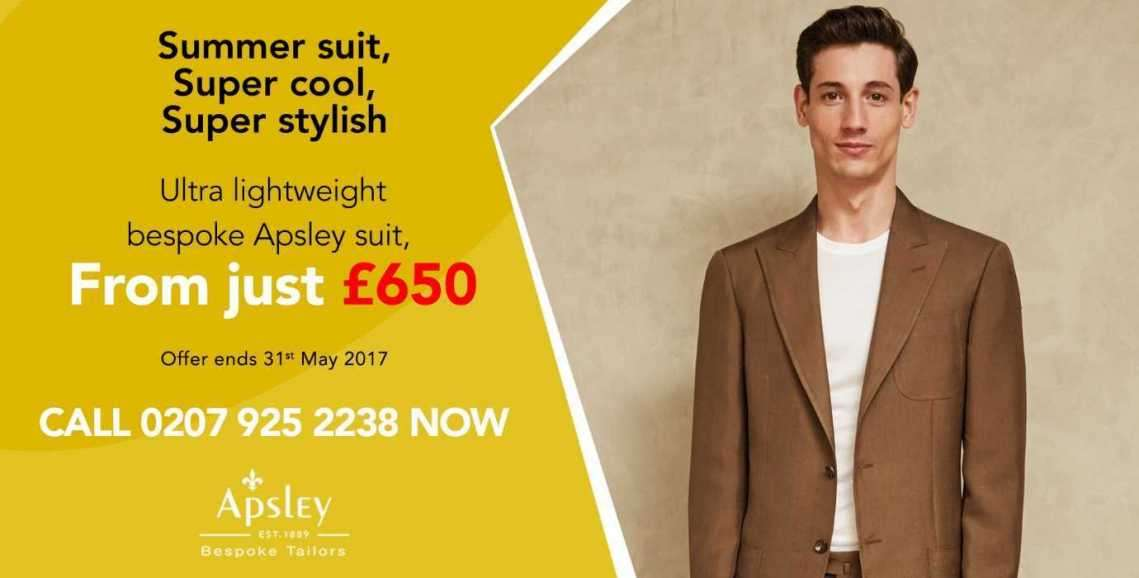 Last chance to get a bespoke summer suit for just £650